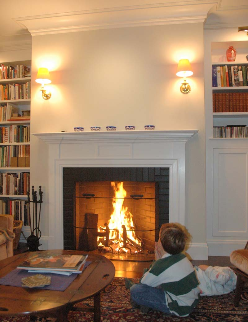 Training fireplace style for Rumford fireplace insert