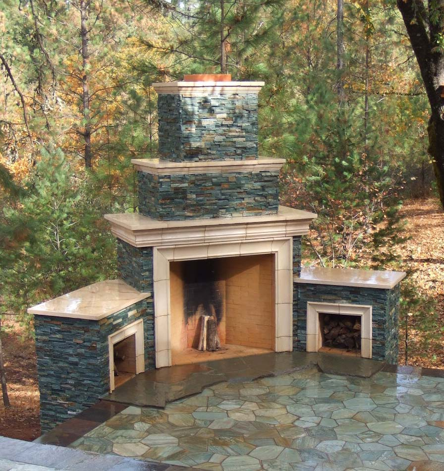 Outdoor rumfords for Outside fireplace plans